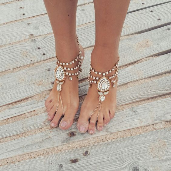 rhinestone barefoot sandals are th ebest choice for a summer boho bride