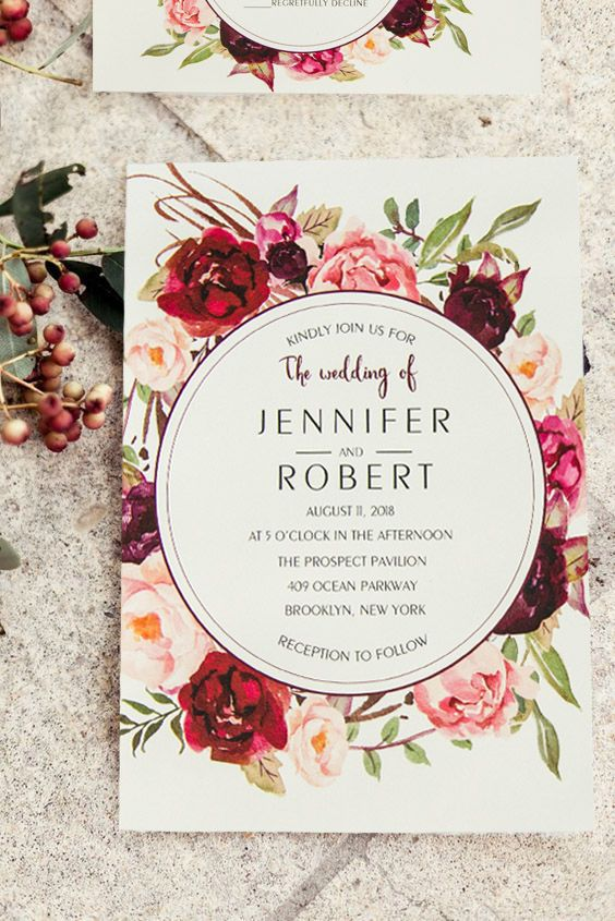 burgundy floral boho summer wedding invitations
