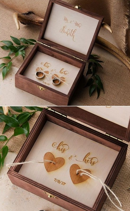 country wooden ring box with a wooden hearts for attaching rings