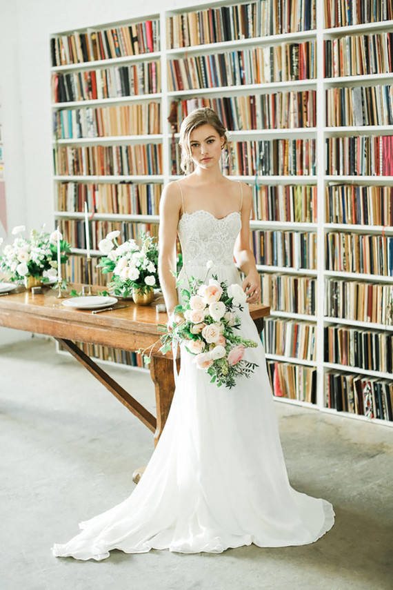 One of the wedding dresses was a spaghetti strap one, with a lace bodice and a flowy skirt