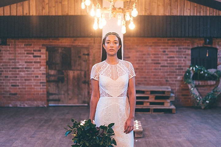 The third bridal look was with a crochet lace dress with an illusion neckline and a boho chic chain headpiece