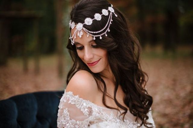 a proper beaded bridal headpiece can create a Morocco-inspired look