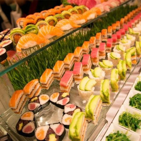 a sushi bar with glass shelves and green grass under them for a fresh and eye-catchy look