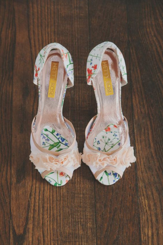 floral print heels with blush fabric flowers