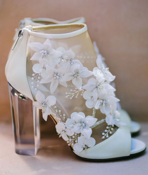 floral shoes with lucite heels on zips