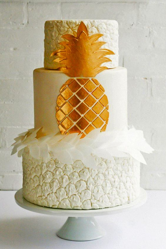 textural pineapple themed wedding cake