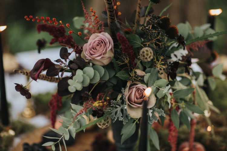 I adore the refined moody florals with burgundy and blush accents