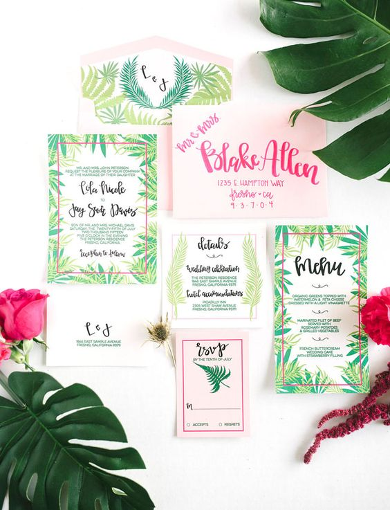 emerald and light green leaf wedding stationary