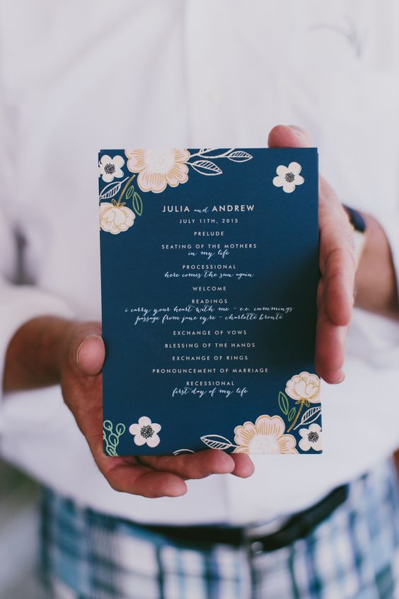 navy floral wedding invitations