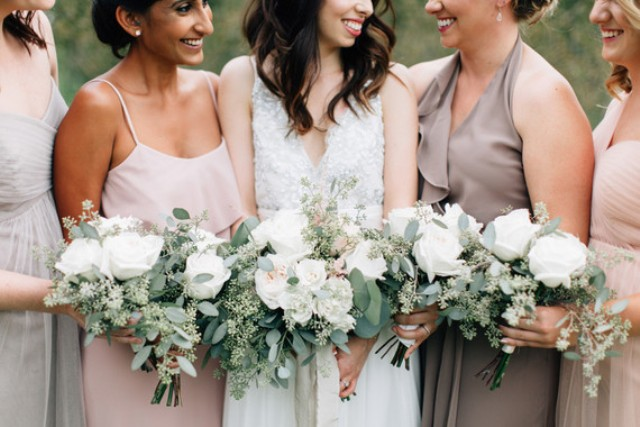 The bridesmaids were wearing mismatching dresses