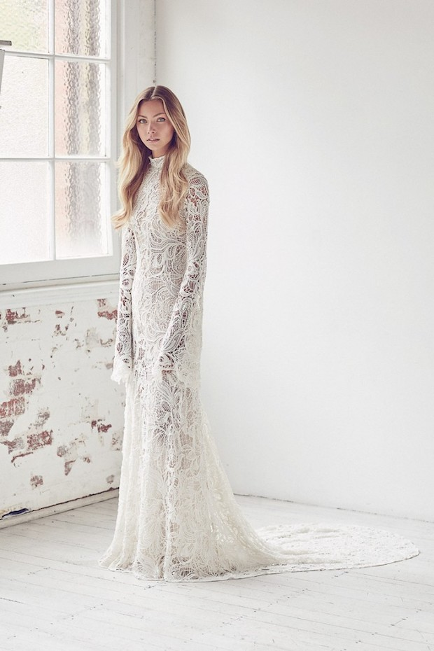 boho crochet lace wedding dress with sleeves and a train
