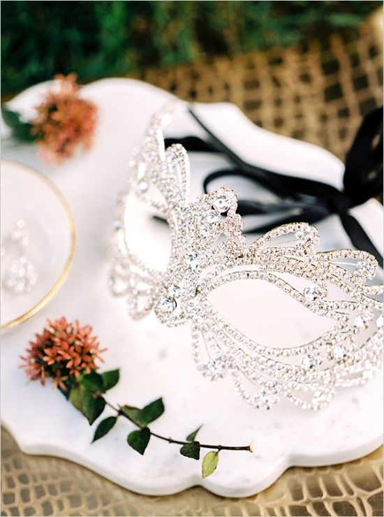crystal wedding mask for the bride