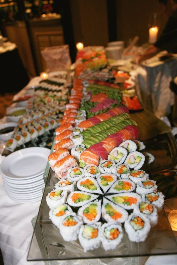 glass shelves and plates are always popular for displaying sushi as they don't distract attention