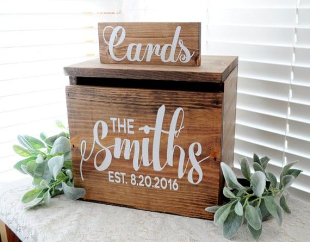 painted wooden box for cards