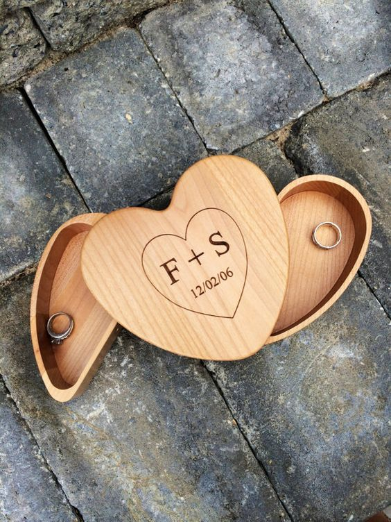 personalized woodburnt heart keepsake box