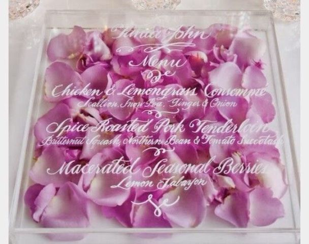rose petals acrylic invite for a very romantic wedding