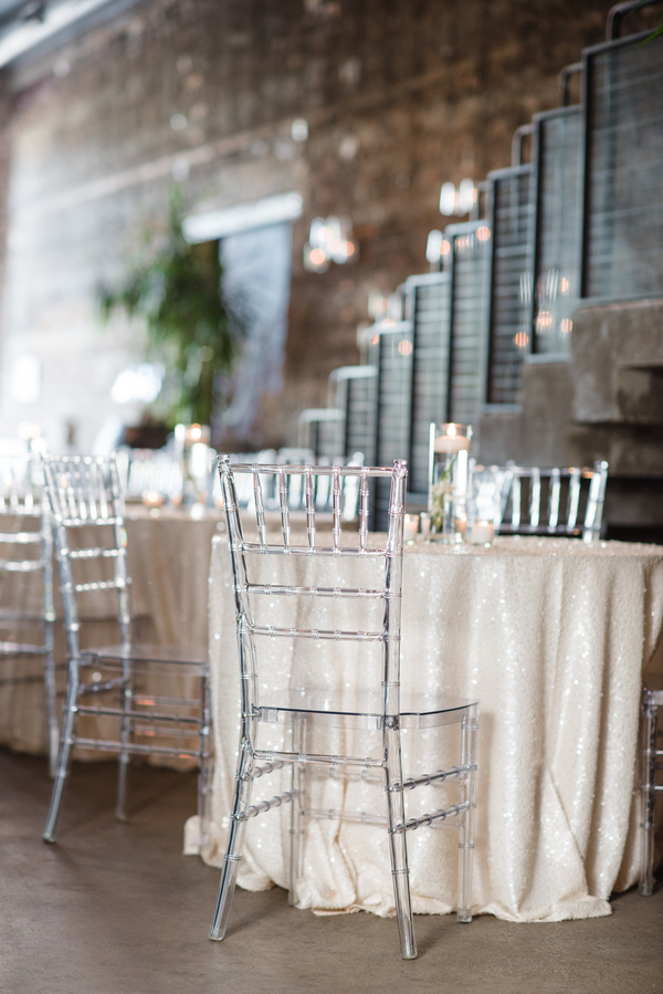 Blush sequin tablecloths added a glam feel to the venue