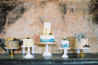 10 The assortment of wedding cakes was inspired by Morocco, too, with gold, blues and air plants
