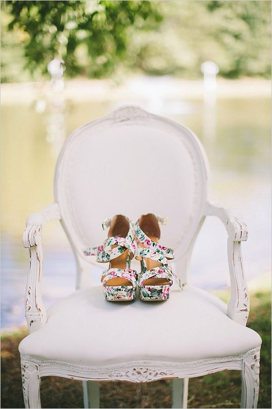 floral print wedding wedges to feel comfy on your big day