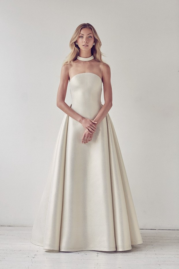 ivory satin ballgown with an illusion neckline