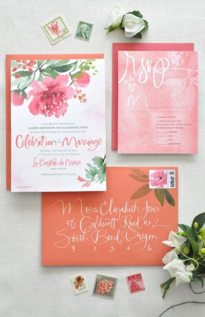 pink and orange wedding stationary, watercolor florals