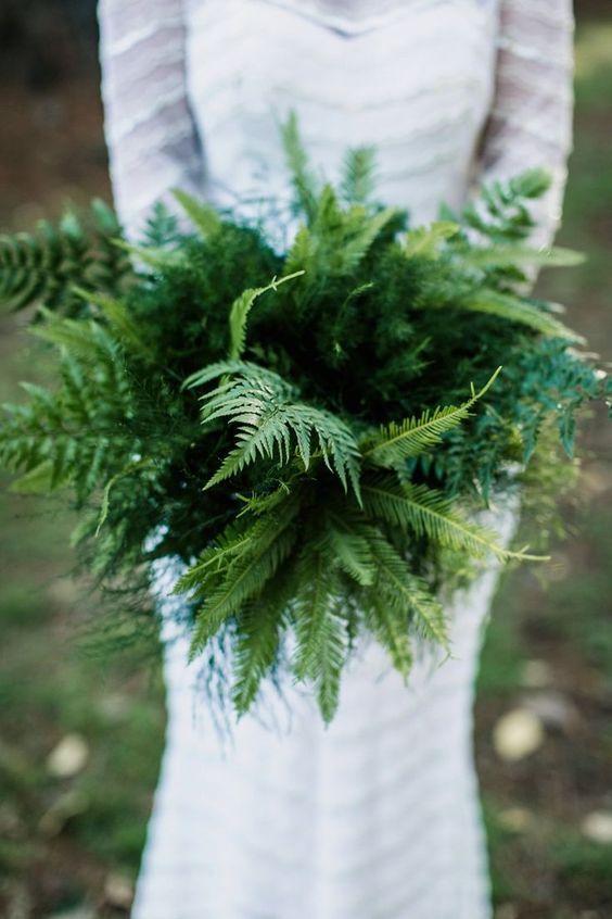 a fern bridal bouquet is great for a woodland wedding
