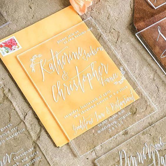 acrylic wedding invites and vlvet envelopes