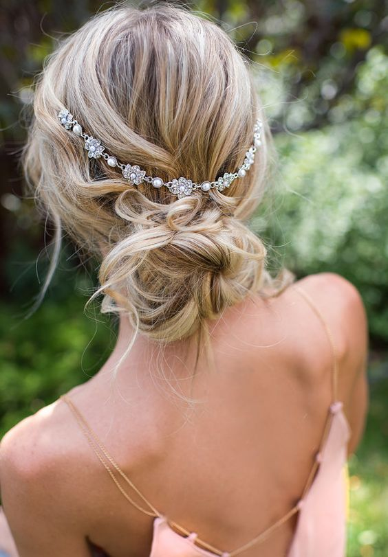 flower and pearl hair vine is a gorgeous accessory for a summer bride