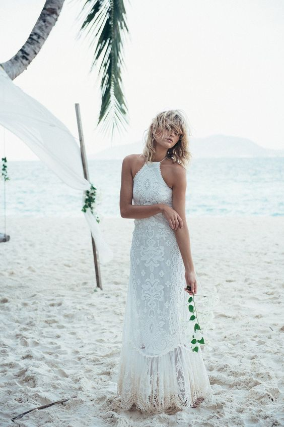 halter neckline lace boho gown with a fringe trim