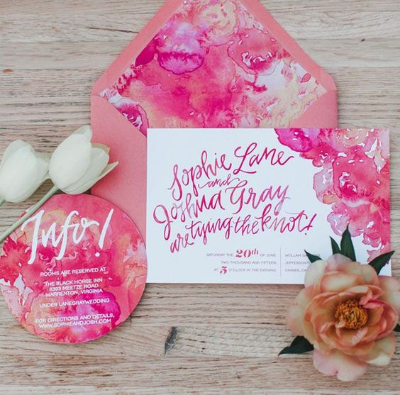 hot pink flowers and calligraphy wedding stationary