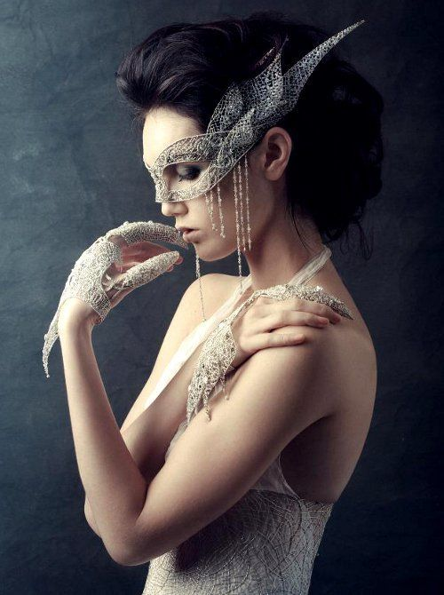 lace, pearl & rhinestone mask, gloves and gown