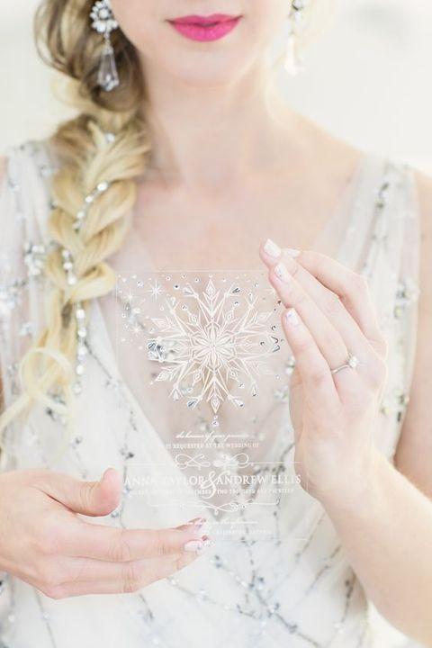 adorable acrylic wedding invites decorated with rhinestones