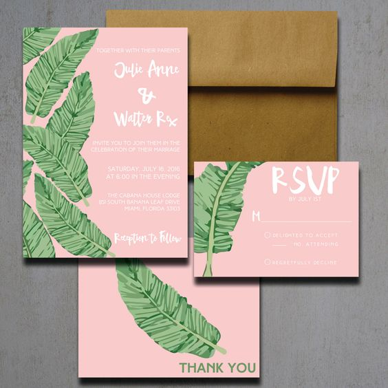 pink banana lead invitations and kraft paper envelopes