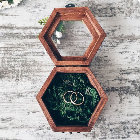wooden box with a glass lid and leaves inside