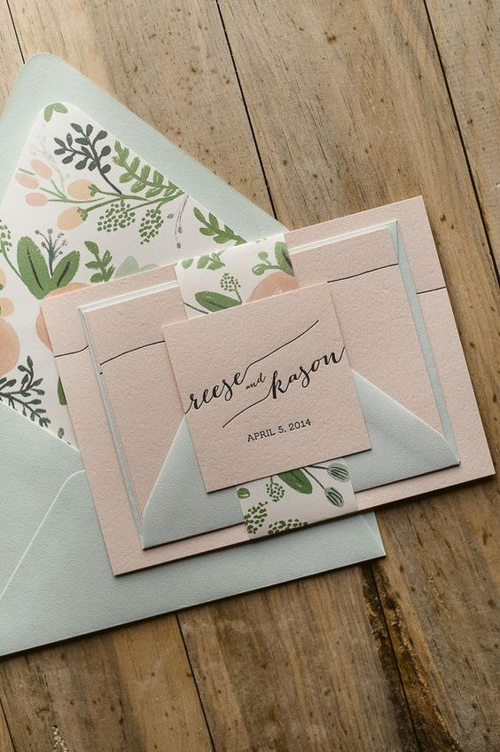 soft pastel wedding stationary in blush, mint and with floral patterns