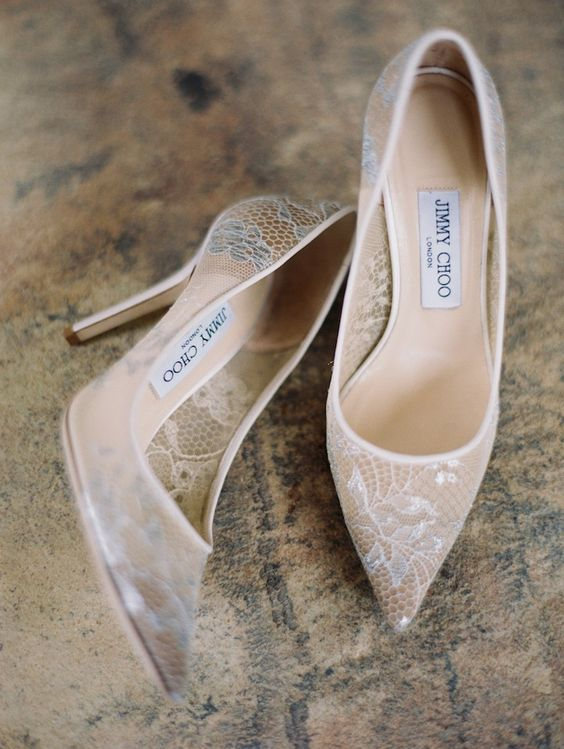 stylish semi sheer white lace heel by Jimmy Choo