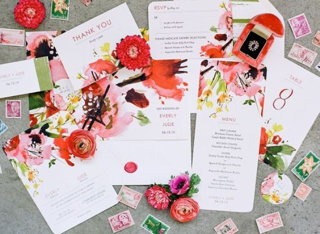 super bold watercolor flower wedding stationary