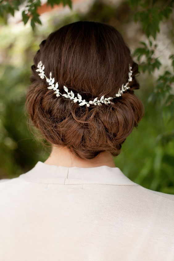 wedding updo with a delicate bling hair vine