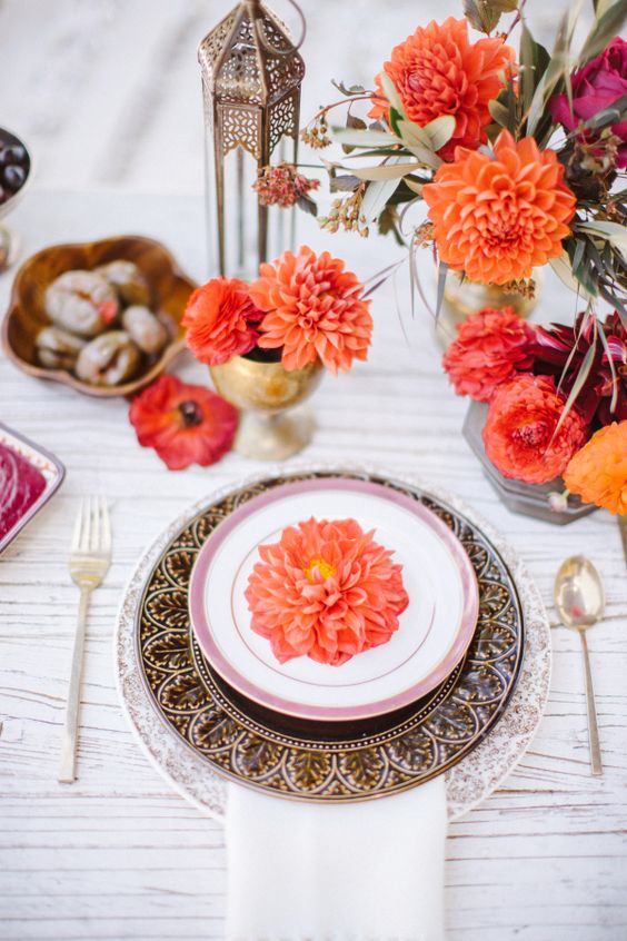 Moroccan lanterns, platters and bold florals