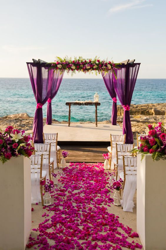 bold hot pink petals on the aisle, bold flowers, purple curtains for the wedding arch