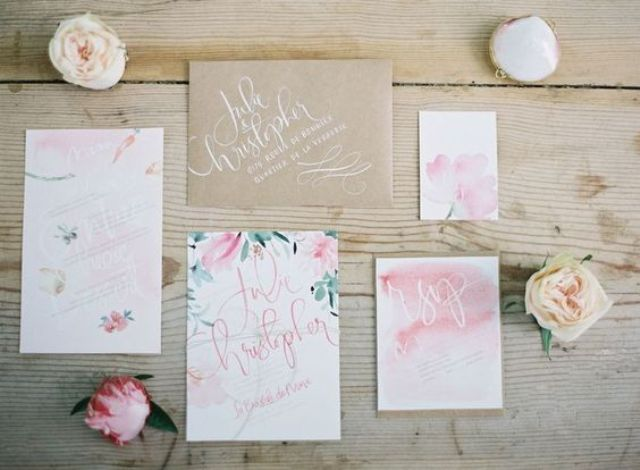 watercolor pink wedding stationary with floral prints
