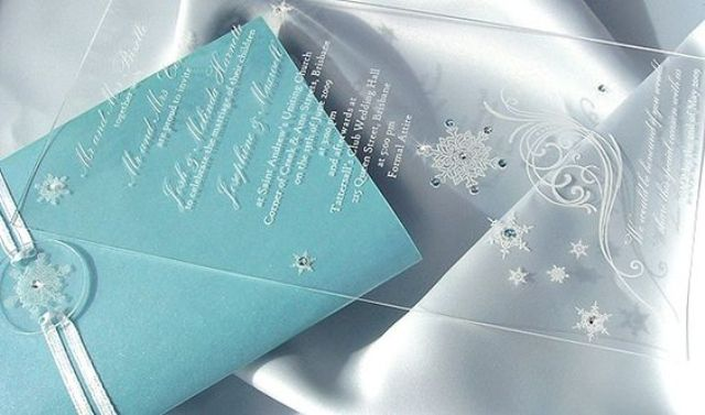 chic winter invitations with sparkling beads