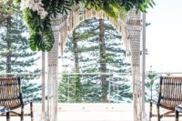 16 macrame, pal leaves and white orchids for a tropical boho wedding