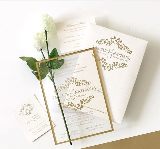 Beautiful Wedding Invitation In Acrylic Material With A Gold Lines