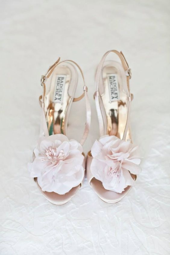 blush and floral combine to make the perfect shoe