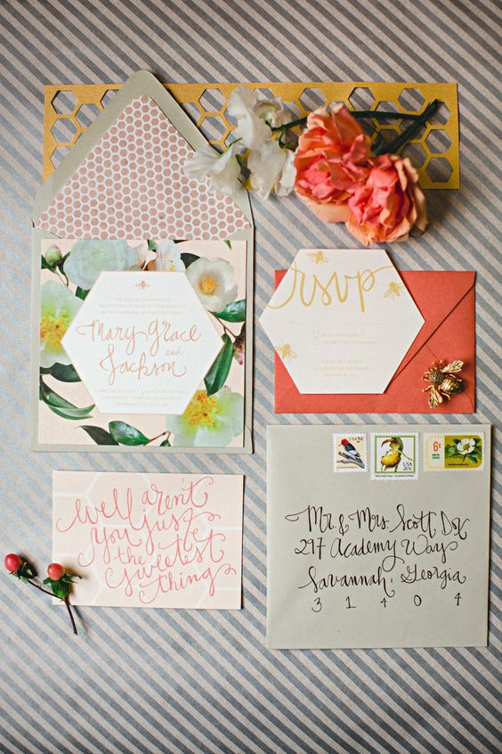 colorful wedding invitation suite with realistic flowers