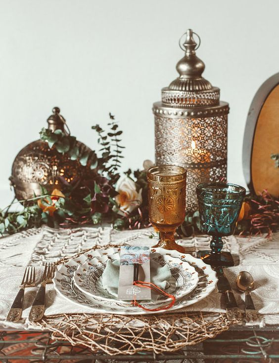 exquisite silver metalwork, woven platters and colored glasses