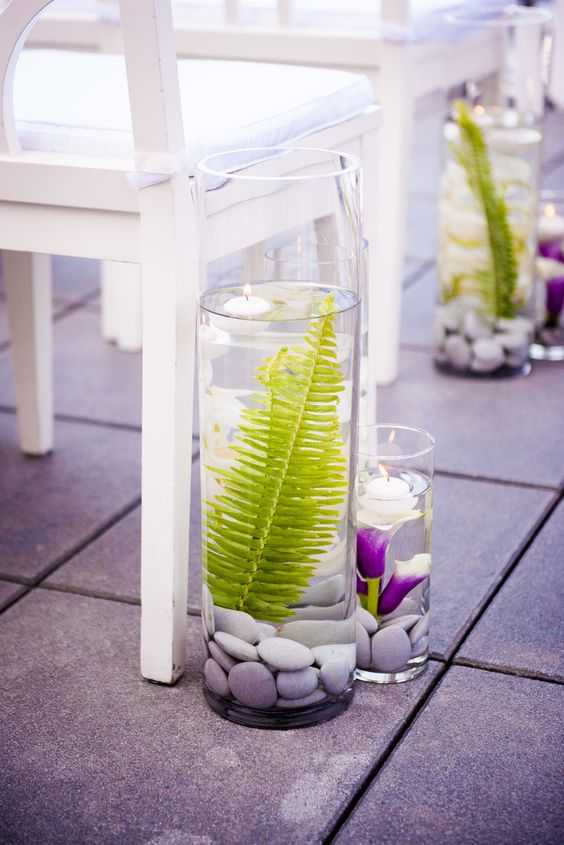 17 fern and orchid arrangaments in glass jars with pebbles