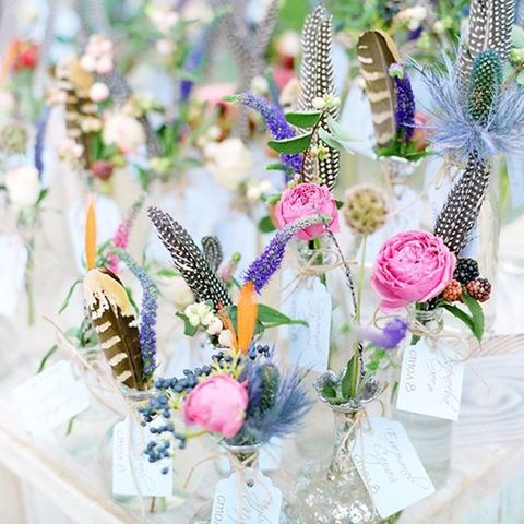 mix wildflowers with feathers for a boho look