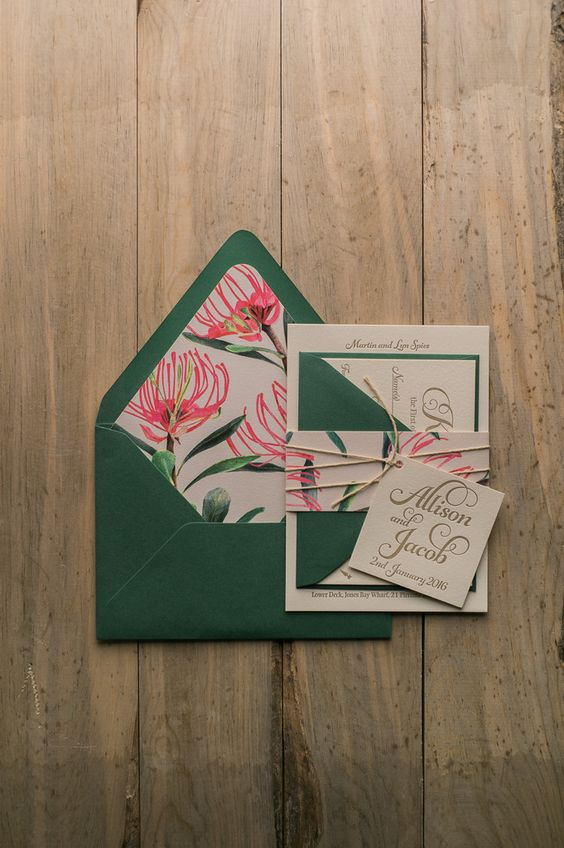 waratah flower pattern and emerald envelopes